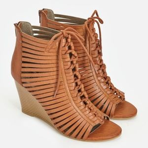"JustFab ""Leire"" Cognac Wedges"